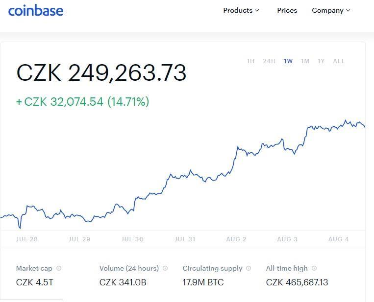 cena bitcoin graf